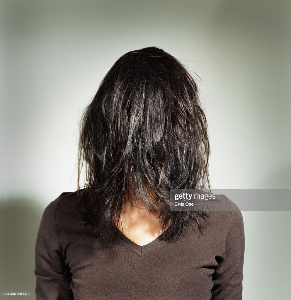 Woman with hair over face : Stock Photo