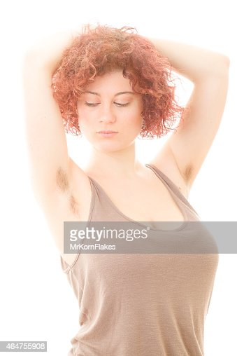 Woman With Hairy Armpits Stock Photo