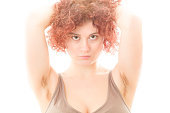 Pretty Woman with Hairy Armpits on White Background