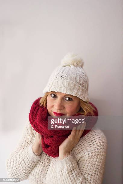 Woman with hat and scarf