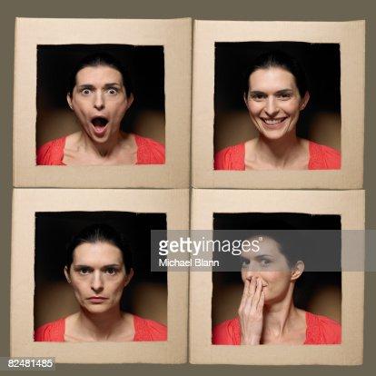 Mujer con la cabeza en cajas extracción de caras : Foto de stock