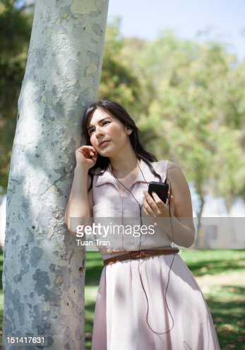 Woman with headphones : Foto de stock