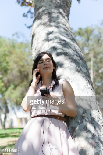 Woman with headphones : Stock Photo