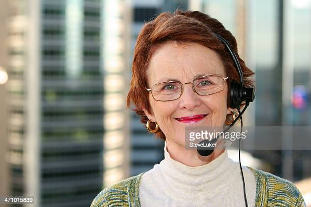Woman with headset.