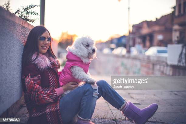 Woman with her beautiful poodle