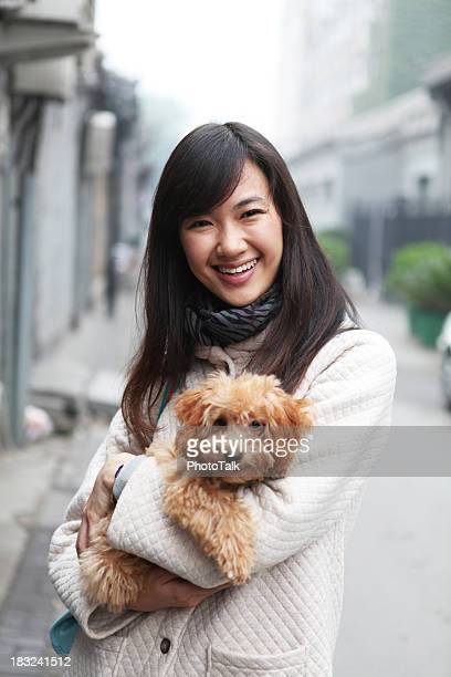 Woman With Her Dog at Outdoors - XLarge