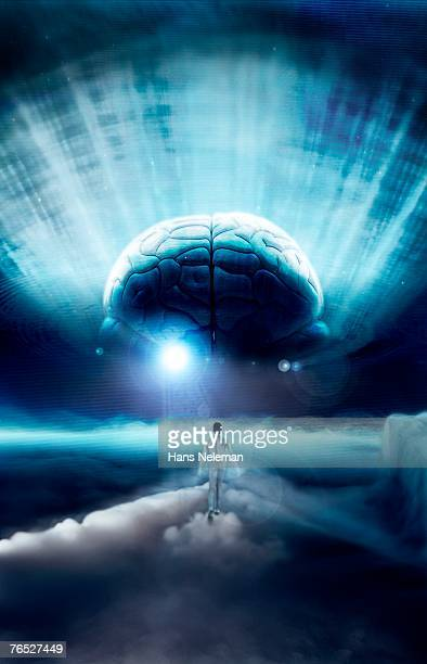 Woman with human brain in background, surreal