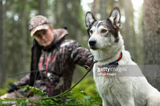 Woman with hunting dog in forest