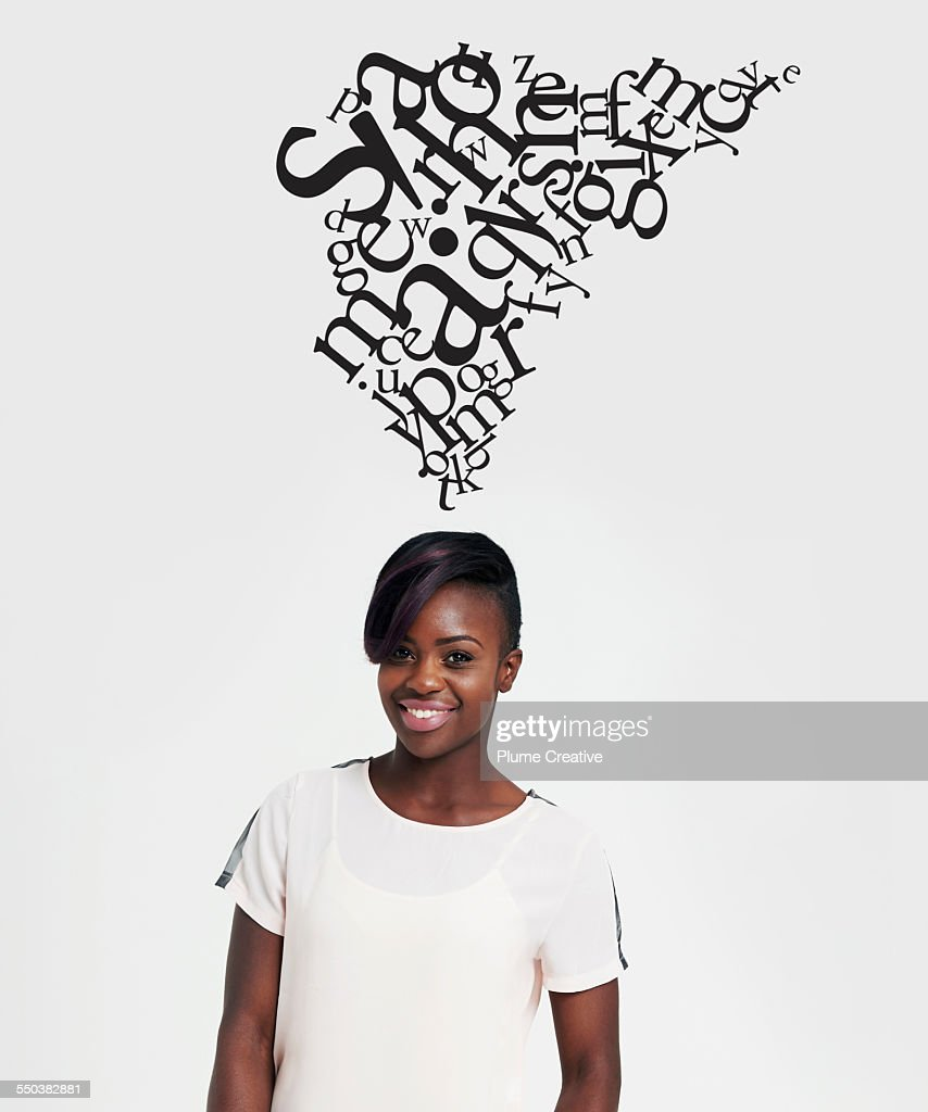 Woman with illustrated letters : Stock Photo