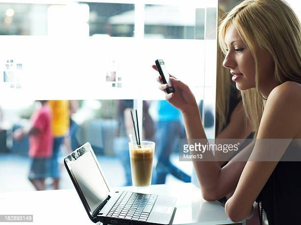 Woman with Laptop in cafe