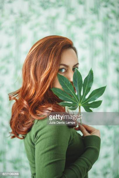 Woman with Leaf.