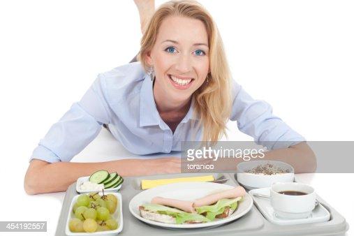Mujer con tableta de almuerzo : Foto de stock