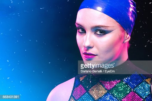 Woman With Make Up, Wearing Swimming Cap