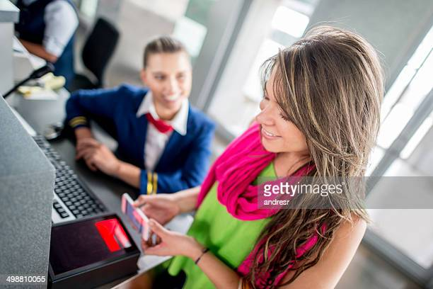 Woman with mobile boarding pass