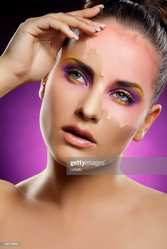 woman with multicolored makeup : Stock Photo