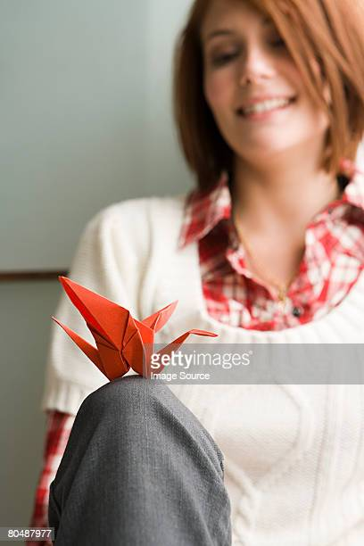 Woman with origami
