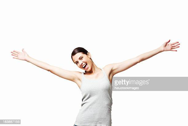 Woman With Outstretched Arms - Isolated