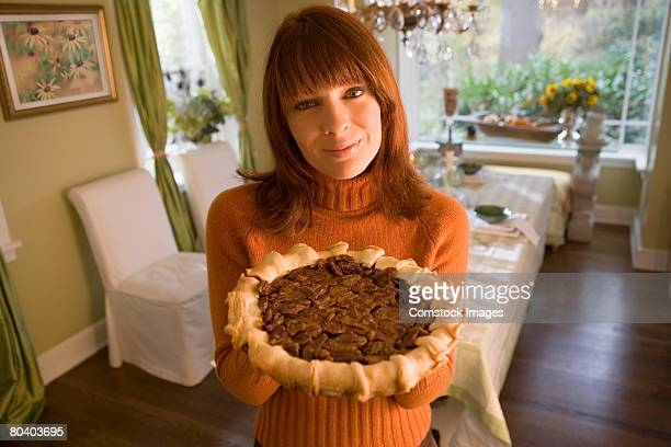 Woman with pecan pie