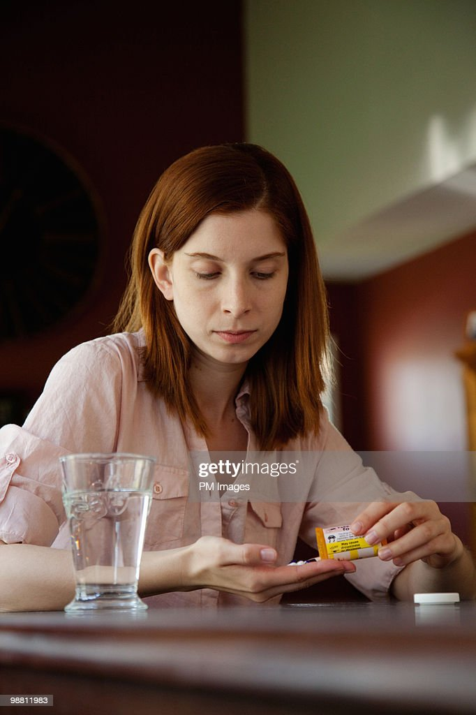 Woman with Prescription Meds.  : Stock Photo