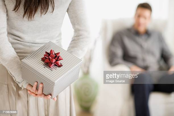 Woman with present for boyfriend