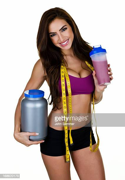 Woman with protein drink