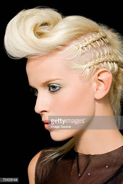 Woman with quiff and plaits in her hair
