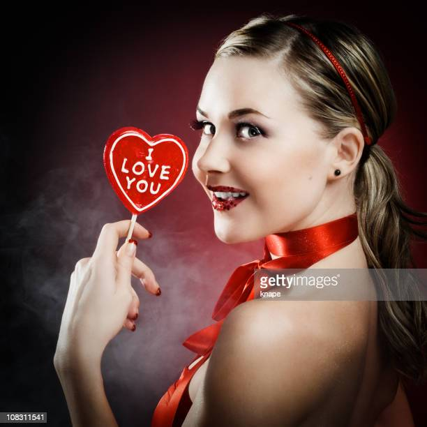 "Woman with ""I love you"" candy"