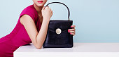 Beautiful black leather handbag.
