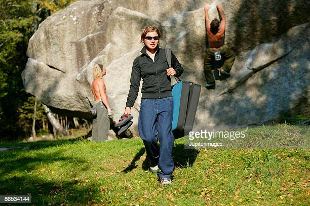 Woman with rock climbers