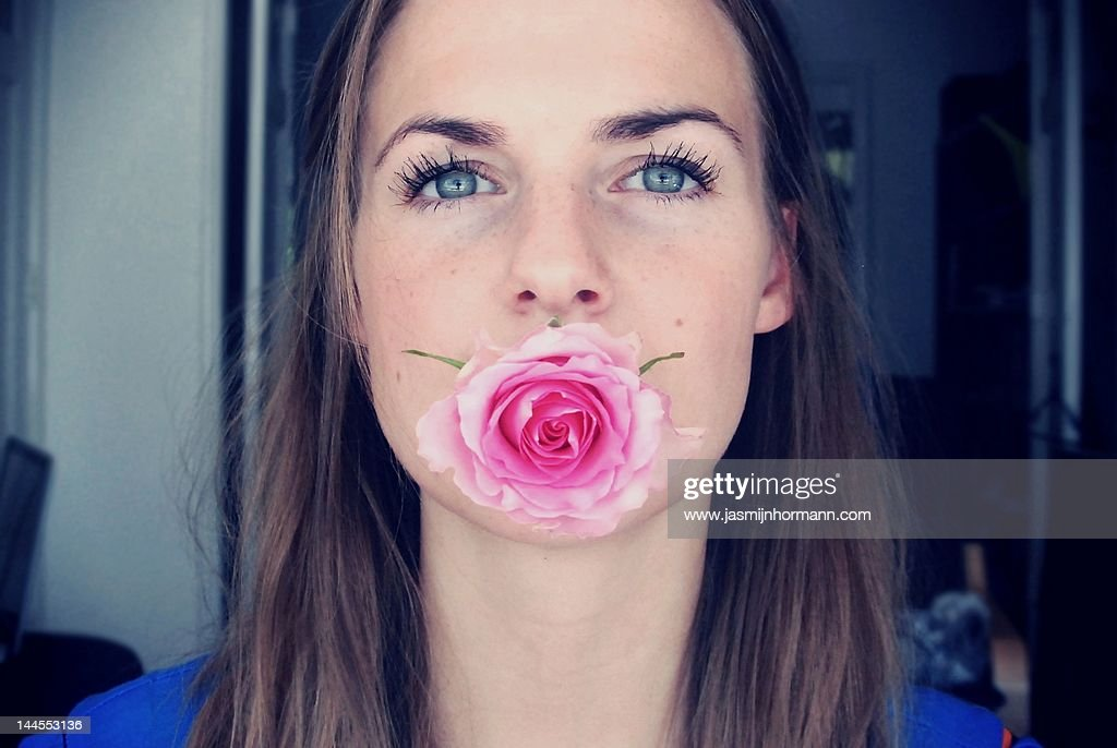 Woman with rose : Stock Photo