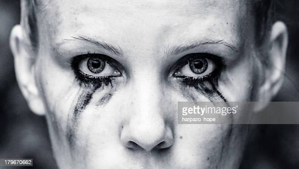 Woman with running mascara