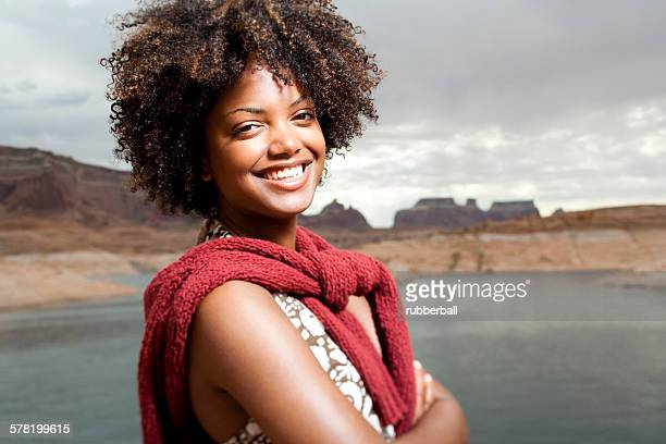Woman with scenic background