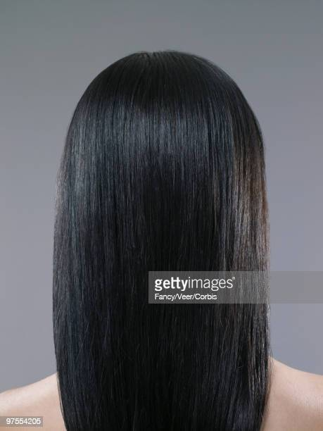 Woman with shiny long black hair