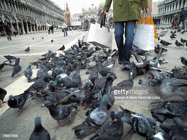 Woman with shopping bags walking through group of pigeons.