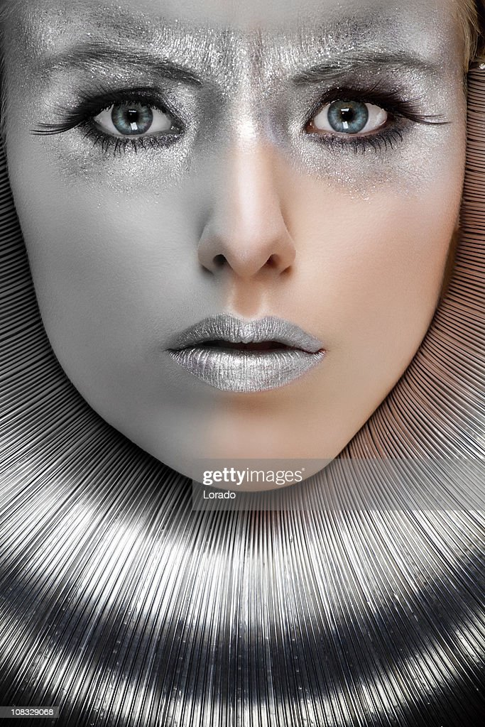 woman with silver make-up : Stock Photo