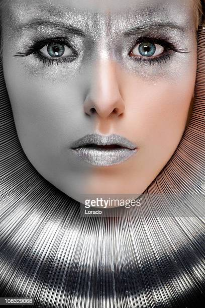 woman with silver make-up