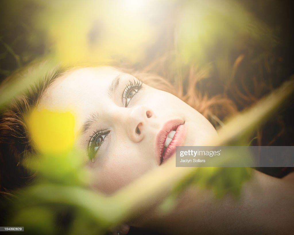 Woman with single tear : Stock Photo