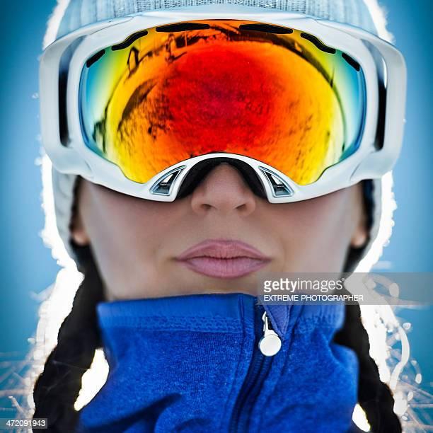 女性、スキーゴーグル