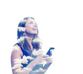 Woman with smart phone and clouds