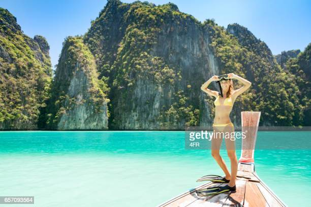 Woman with Snorkel, Scuba Mask and Fins, Phi Phi Islands, Thailand