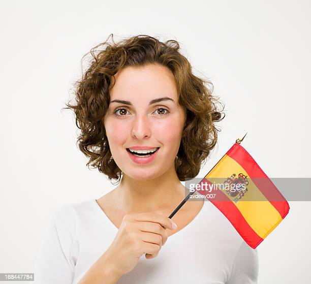 Woman with Spanish flag
