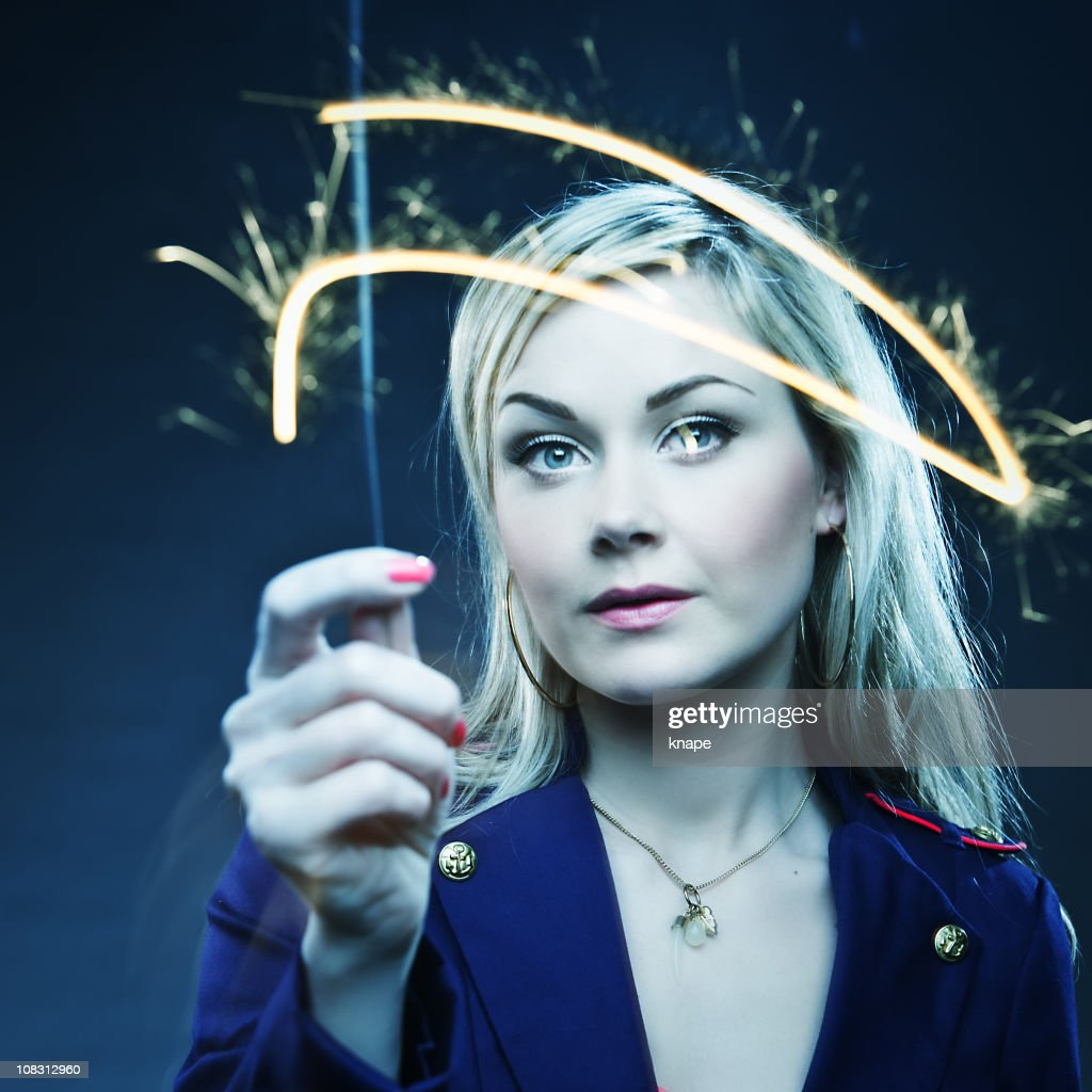 Woman with Sparkler : Stock Photo