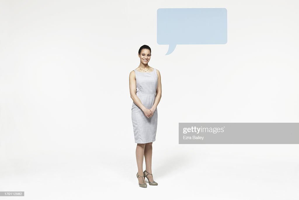 Woman with speech bubble icon.