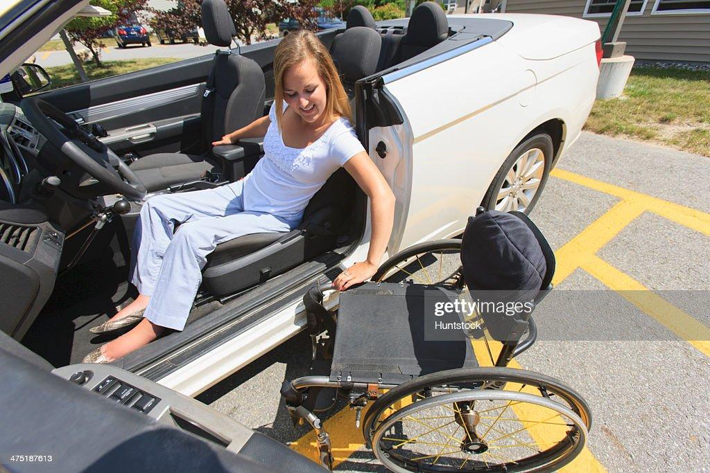 Blonde paraplegic transfer to ground 6