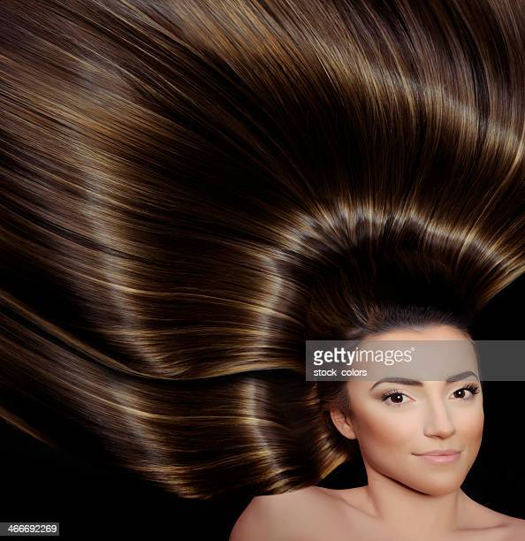 woman with straight shiny hair