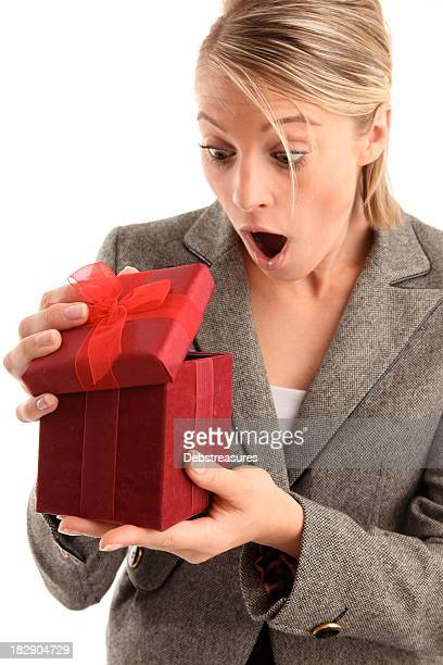 woman with surprise present
