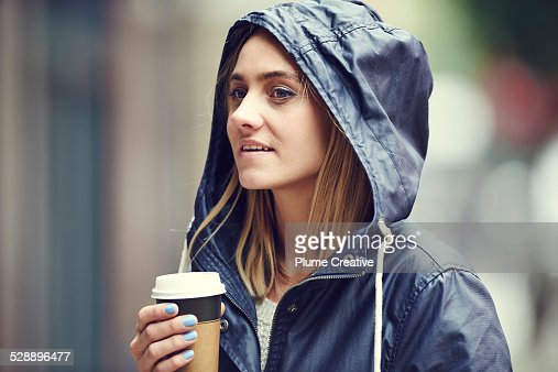 Woman with take away coffee