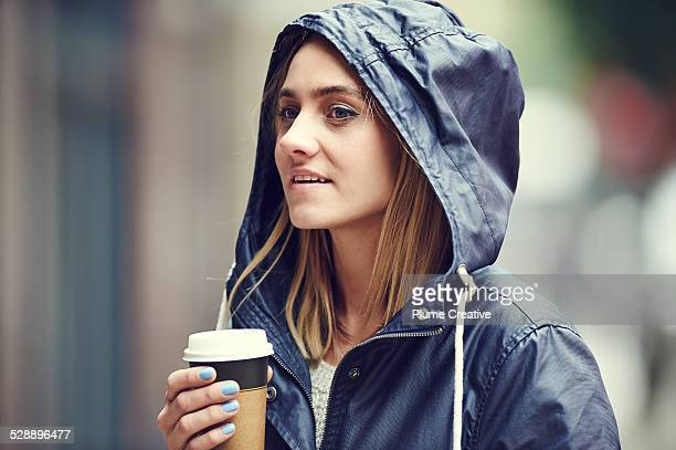 Woman with take away coffee