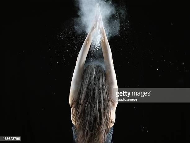 Woman with talcum powder