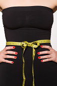 Woman with tape measure around her waist